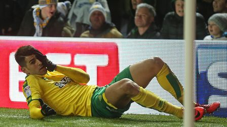 Nelson Oliveira clutches his face after a clash with Pontus Jansson during Norwich City's 1-0 defeat