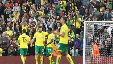 The Barclay End celebrates a Norwich victory. But more than 50 fans in block A have been told they w