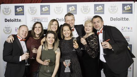 The team from One Traveller collecting their trophy at theBritish Travel Awards 2017. Picture: St