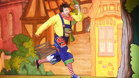Simple Simon (Scott Cripps) performing in pantomime, Jack and the Beanstalk at the Alive Corn Exchan