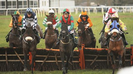 Rio Quinto, ridden by Richard Johnson, wins the sixth race of the day at Fakenham. Picture: Ian Burt