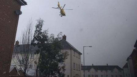 The air ambulance landing off Greenland Avenue, in Wymondham. Picture: Submitted