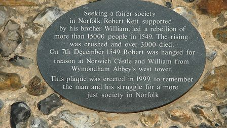The plaque at Becket's Chapel that honours the Kett brothers. Picture: Terence R Burchell
