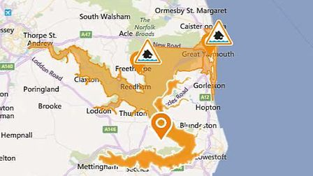A map showing areas affected by a flood alert issued on Thursday, December 7. Picture: Environment A