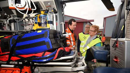 Ros and Chris Lawrence reunited with East Anglian Air Ambulance crew member, Dr Jeremy Mauger, who s