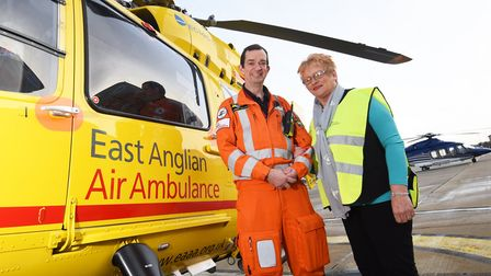 Ros and Lawrence reunited with East Anglian Air Ambulance crew member, Dr Jeremy Mauger, who saved R