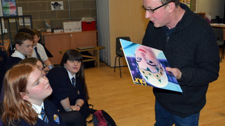 Blur drummer and Norfolk county councillor Dave Rowntree visits Thorpe St Andrew School. PIcture: Er