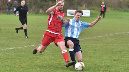 Action from St Andrews' 2-0 win over Reepham Town. Picture: Sonya Duncan