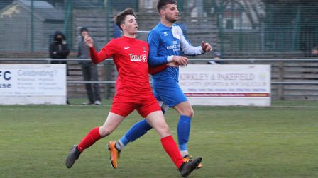 Action from Kirkley & Pakefield's 4-0 win over Ipswich Wanderers. Picture: Bryan Grint