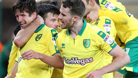 Timm Klose beams at heading Norwich City into the lead against Sheffield Wednesday at Carrow Road. P