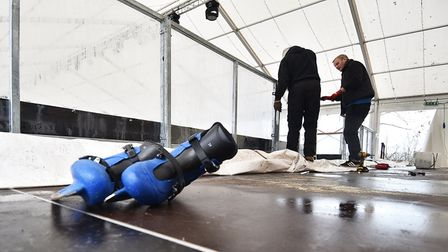 The ice rink in Norwich Castle Gardens is almost ready for the first skaters.Picture: ANTONY KELLY