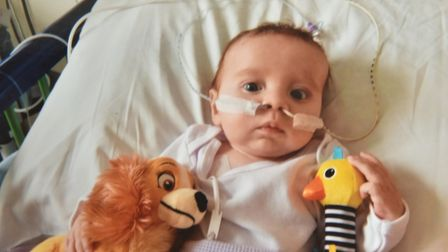 Baby James in hospital. Picture: Thorndyke family.