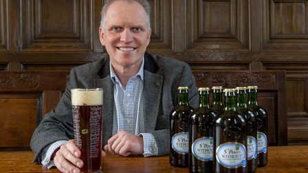 Steve Magnall, chief executive of St Peter's Brewery in Bungay, with the brewery's St Peter's Withou