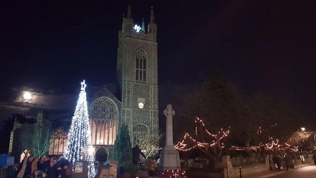 Bungay's church is lit up for Christmas. Picture: Andrew Atterwill