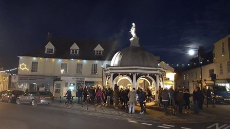 The crowd begins to gather for the lights switch-on. Picture: Andrew Atterwill