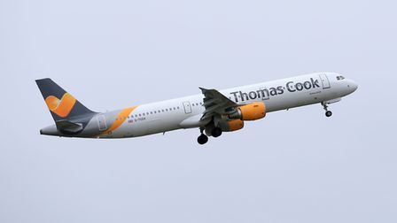 Photo of a Thomas Cook plane taking off. Picture: Tim Goode/PA Wire