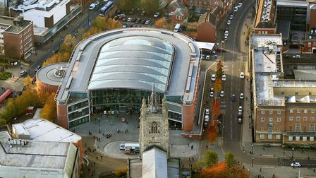 Aerial view Norwich by Mike Page. Pictured: The Forum. Picture: Mike Page