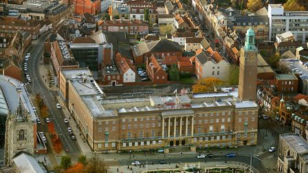 Aerial view Norwich by Mike Page. Pictured: City Hall. Picture: Mike Page