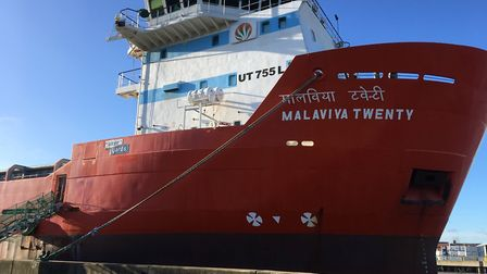 Malaviya Twenty, which is detained in Great Yarmouth after its crew failed to receive payment. Pictu