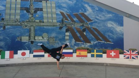 """Dr Richard Barker """"killing time"""" at the Kennedy Space Centre. Picture: Simon Gilroy"""
