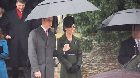 The Duke and Duchess of Cambridge leaving church after morning service on Christmas Day at Sandringh