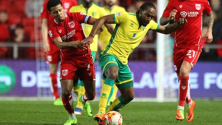 Korey Smith closes down Cameron Jerome in last season's 1-1 draw at Ashton Gate. Picture: Paul Chest