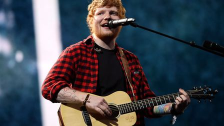 Ed Sheeran performing on the Pyramid stage at Glastonbury Festival, at Worthy Farm in Somerset.Pictu