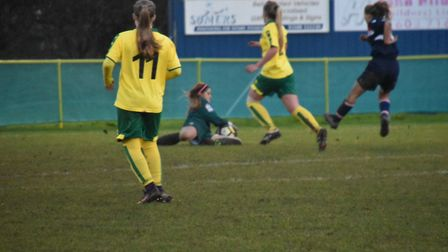 Norwich City Ladies goalkeeper Fiona Coombes makes a save. Picture: Brian Coombes