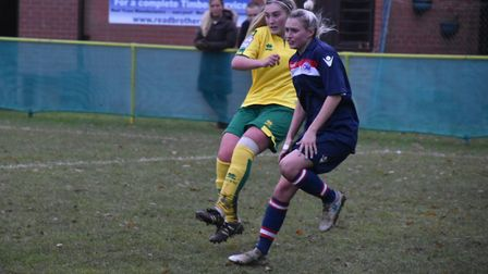 Norwich City Ladies' Summer Ward clears the danger against Denham. Picture: Brian Coombes