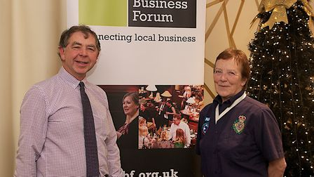 Brian Bale, right, chairman of Diss Business Forum, with Rachel Hillier, of Diss Community First Res