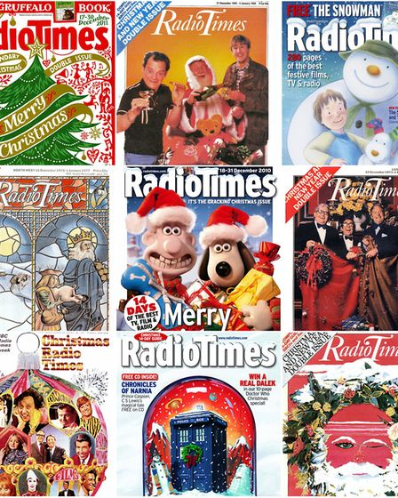 Past bumper Chritsmas issues of the Radio Times. Photo: Submitted