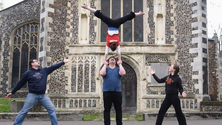 The Lost In Translation Circus Company in their new home, St Michael of Coslany. Massimiliano Rosset