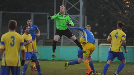 Norwich United goalkeeper Andrew Wilton in action against Canvey Island. Picture: DENISE BRADLEY
