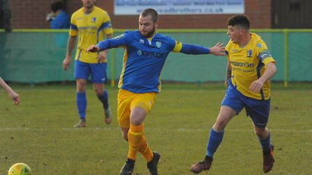 Henry Pollock shadows a Canvey player. Picture: DENISE BRADLEY