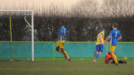 Liam Jackson turns to celebrate after scoring. Picture: DENISE BRADLEY