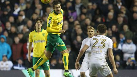 Mario Vrancic heads clear at Elland Road during during Norwich City's defeat at Leeds United. Their