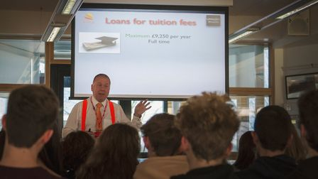 Wealth Ed Flack of Wize-Up delivering the session to Reepham College students. Picture: GreenSky Wea