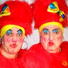 Thomas Howes and Des Barrit as the Ugly Sisters in Cinderella at Gorleston Pavilion Theatre. Photo: