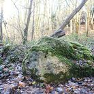 The old stone that stands in a grove beside a path in woodland near Hase's Lane, Lyng. Picture: Ian