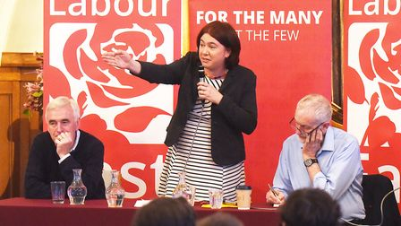 Alex Mayer MEP speaking at an event with Jeremy Corbyn and John McDonnell. Picture: IAN BURT