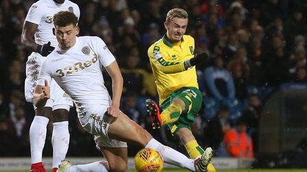 James Maddison of Norwich has a shot on goal during the Sky Bet Championship match at Elland Road, L