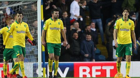 The Norwich players look dejected after conceding at Elland Road. Picture by Paul Chesterton/Focus