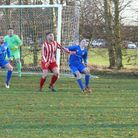 Action from the match between Norwich Ceyms and Harleston Town. Picture: John Landamore