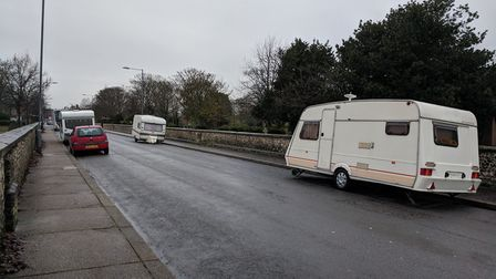 Some caravans have parked up in Kitchener Road, Great Yarmouth. Photo: George Ryan