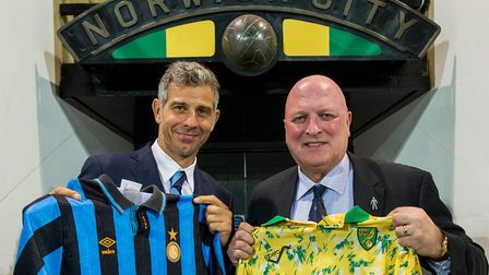 Francesco Toldo, left, and Bryan Gunn will play at Carrow Road in support of The Nest. Picture: Norw