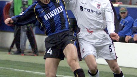 Javier Zanetti, left, in action against Ipswich in the Uefa Cup in 2001. PA Photo: Andrew Parsons.