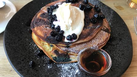 Canadian pancakes with blueberries and cream at The Boarding House Dinng Rooms. PICTURE: Archant
