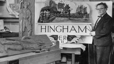 Two village signs - one for Anmer and one for Hingham - being made by Harry Carter of Swaffham in Ap