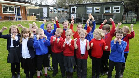 Children at Suffield Park Infant School in Cromer celebrate the Queen's 90th Birthday. Picture: