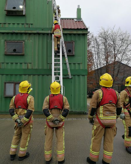 The latest retained fire fighters undergoing their training exercises. Picture: Norfolk County Counc